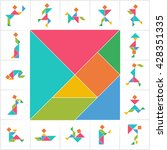 tangram set  people. collection ... | Shutterstock .eps vector #428351335