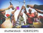 beach summer dinner party... | Shutterstock . vector #428352391