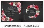 wedding invitation with peony... | Shutterstock .eps vector #428361619