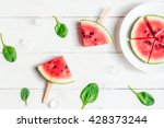 Watermelon Popsicle On Wooden...