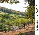 mountain biker riding on bike... | Shutterstock . vector #428400901