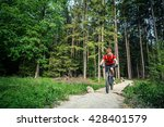 mountain biker riding on bike... | Shutterstock . vector #428401579