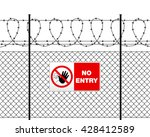 Fence With Barbed Wire And Sig...
