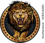 lion in stars leo attack  | Shutterstock .eps vector #428416081