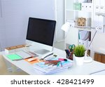 office workplace with laptop... | Shutterstock . vector #428421499