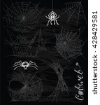 gothic set with horror cobweb... | Shutterstock .eps vector #428429581