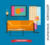 living room interior in flat... | Shutterstock .eps vector #428431639