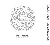 Stock vector pet shop logo with linear icons of cats dogs goods for animals abstract veterinary concept 428469904