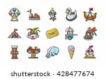 amusement park icons set eps10 | Shutterstock .eps vector #428477674