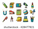 stationery and drawing icons... | Shutterstock .eps vector #428477821