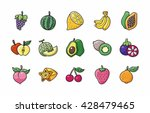 fruits and vegetables icons set ... | Shutterstock .eps vector #428479465