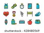 marathon and running icons set