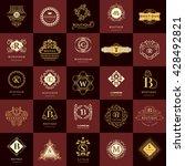 line graphics monogram. vintage ... | Shutterstock .eps vector #428492821