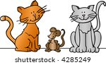 two cartoon cats and a mouse  ... | Shutterstock .eps vector #4285249