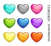cartoon colorful glossy hearts...