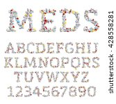 vector font made of different... | Shutterstock .eps vector #428558281