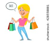 happy girl with bags  shopping... | Shutterstock .eps vector #428558881