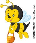 Flying Bee Cartoon Holding...