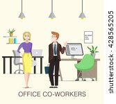 cute office co workers  woman... | Shutterstock .eps vector #428565205