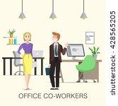 cute office co workers  woman... | Shutterstock .eps vector #428565205