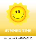 happy sun cartoon mascot...   Shutterstock . vector #428568115
