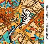 latino musical pattern. pattern ... | Shutterstock .eps vector #428587981
