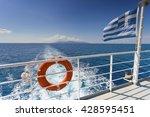 ferry boat in greece view on... | Shutterstock . vector #428595451