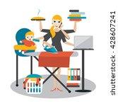 multitask woman. mother ... | Shutterstock .eps vector #428607241