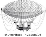 fictional retro dirigible with... | Shutterstock .eps vector #428608105