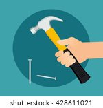 hammer and nails. carpenter... | Shutterstock .eps vector #428611021