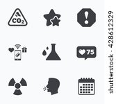 attention and radiation icons.... | Shutterstock .eps vector #428612329