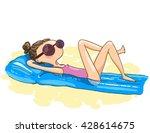 cute cartoon girl sunbathes on... | Shutterstock .eps vector #428614675