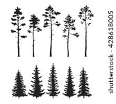 vector set with pine trees... | Shutterstock .eps vector #428618005
