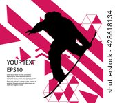 snowboard man silhouette modern ... | Shutterstock .eps vector #428618134