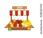 market fruit display flat... | Shutterstock .eps vector #428620765