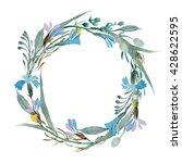 rustic wreath of wildflowers... | Shutterstock . vector #428622595