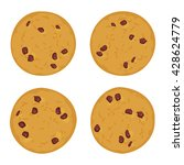 chocolate chip cookie set ... | Shutterstock .eps vector #428624779