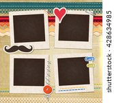 collage photo frame on vintage... | Shutterstock .eps vector #428634985
