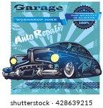 banner vintage auto repair retro   Shutterstock .eps vector #428639215