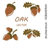 Oak In Flat Style. Isolated...