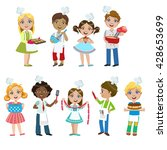 kids on cooking lesson set of... | Shutterstock .eps vector #428653699