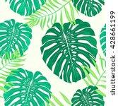palm pattern. monstera leaves....   Shutterstock .eps vector #428661199