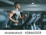 young man in sportswear running ... | Shutterstock . vector #428663329