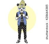 panda boy dressed up in rock... | Shutterstock .eps vector #428664385
