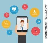 doctor on mobile application.... | Shutterstock .eps vector #428665999