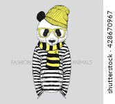 panda boy dressed up in frock ... | Shutterstock .eps vector #428670967