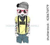 tattooed panda hipster boy... | Shutterstock .eps vector #428676979