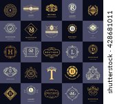 line graphics monogram. vintage ... | Shutterstock .eps vector #428681011