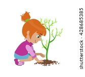 girl planting a tree colorful... | Shutterstock .eps vector #428685385