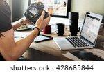 photographer journalist working ... | Shutterstock . vector #428685844